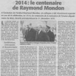 L'AMI HEBDO - Le centenaire de Raymond Mondon